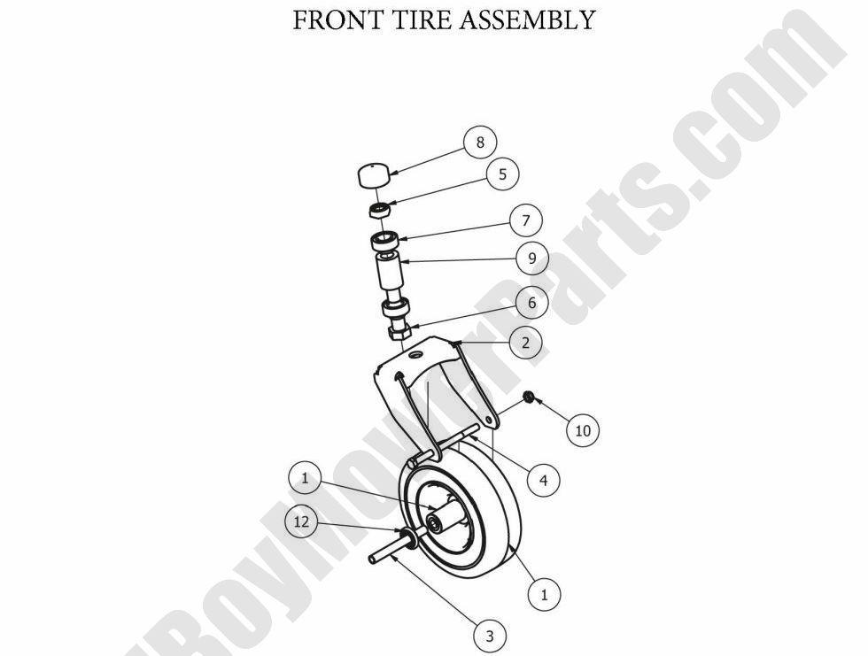 Bad Boy Parts Lookup 2012 MZ Front Wheel Assembly