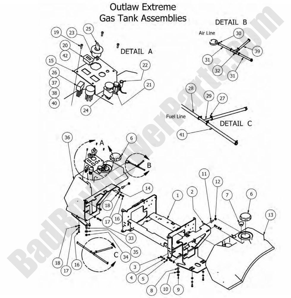 Bad Boy Parts Lookup 2012 Outlaw Fuel Tank (Extreme Models)