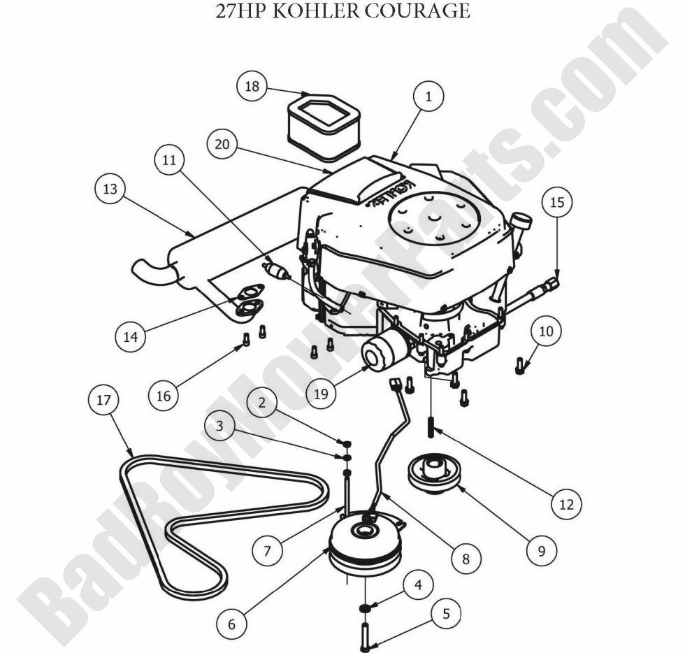 Bad Boy Parts Lookup 2012 ZT Engine (27Hp Kohler)