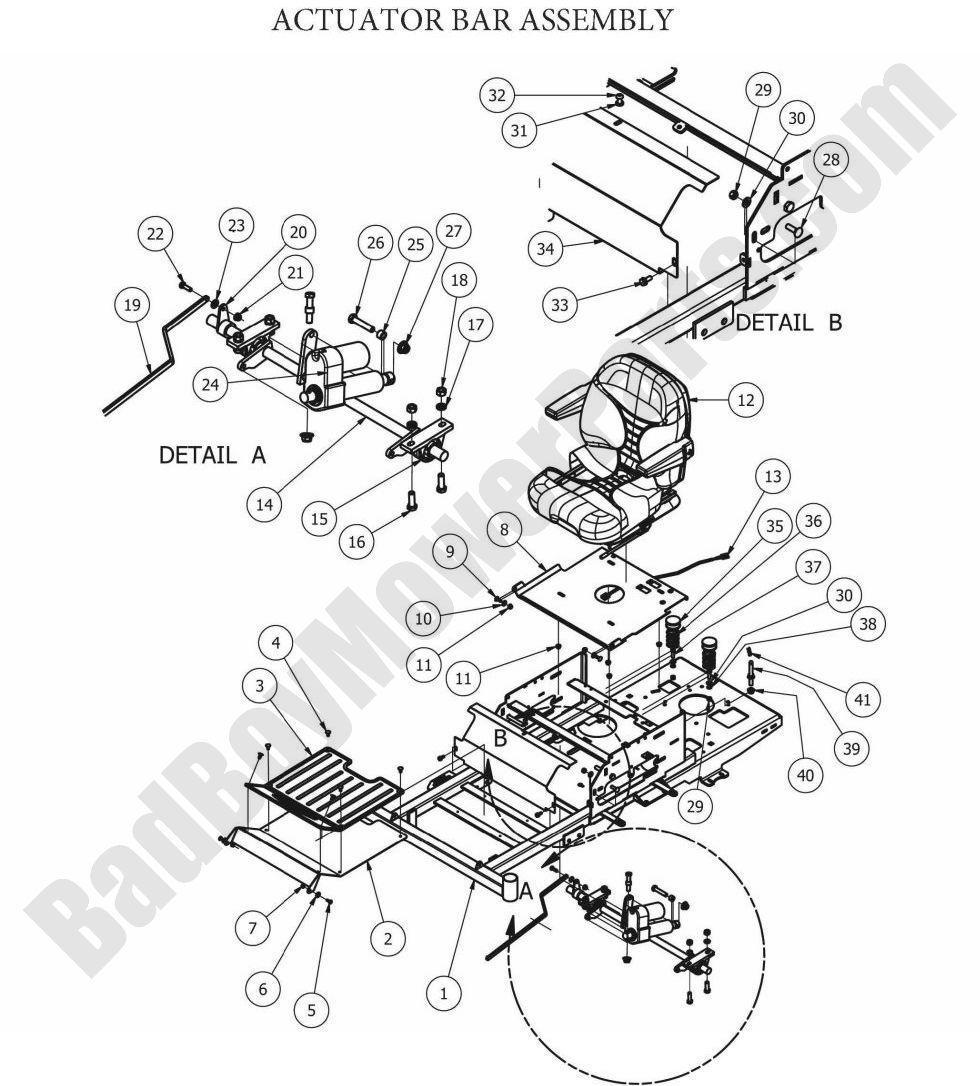 Bad Boy Parts Lookup 2012 ZT Actuator Bar Assembly