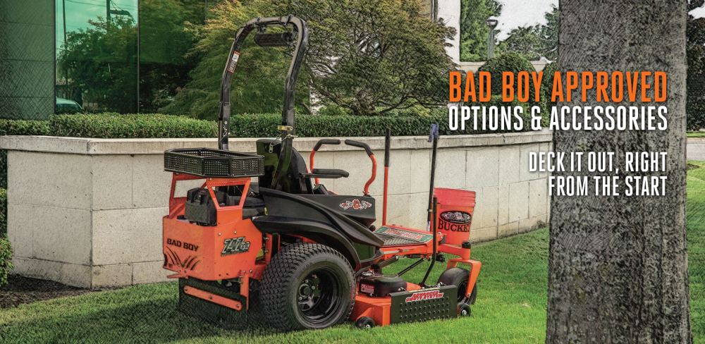 medium resolution of lawn mower accessories for tilling aerating mulching more bad boy mowers
