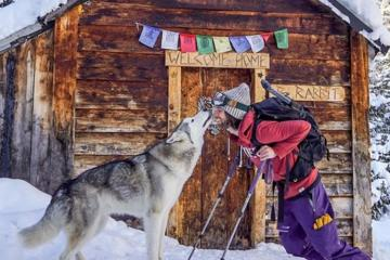 wolf and man in snow morning awesomeness