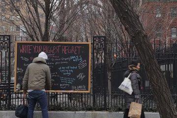 Biggest Regret chalkboard new york city