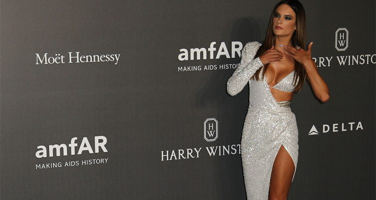 Alessandra Ambrosio spotted on Red Carpet during amFAR gala in Milan