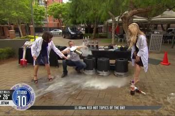 Australian TV Host almost killed by Exploding Coke Bottle 1