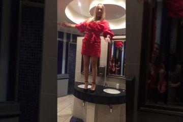 Girl Dances in Heels on Bathroom Sink Fail 1
