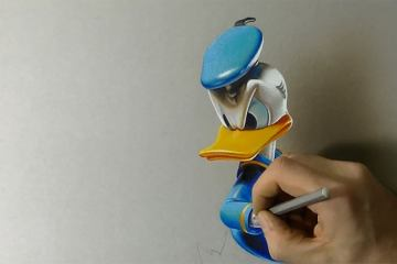 How to draw 3D Art - Drawing Donald Duck 1