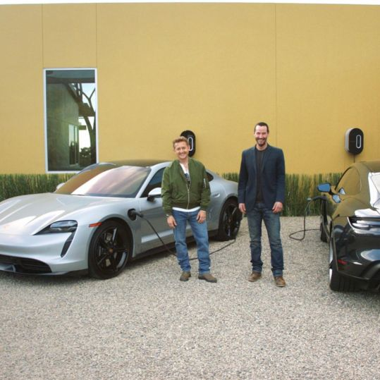 Keanu Reeves & Alex Winter test Porsche Taycan 3