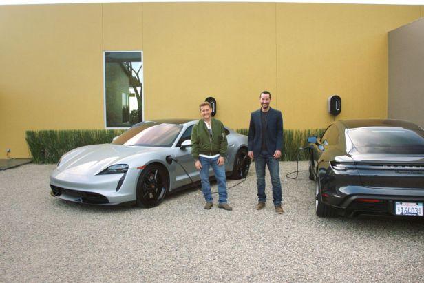 Keanu Reeves & Alex Winter test Porsche Taycan 3