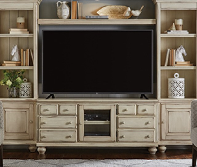 White Entertainment Center With Tv
