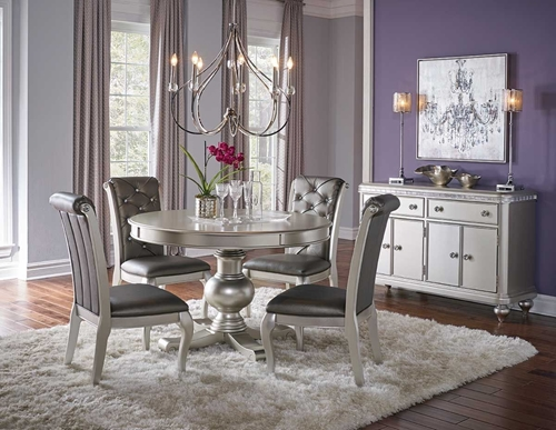Hefner Silver 5 Pc Dining Set Badcock Ampmore