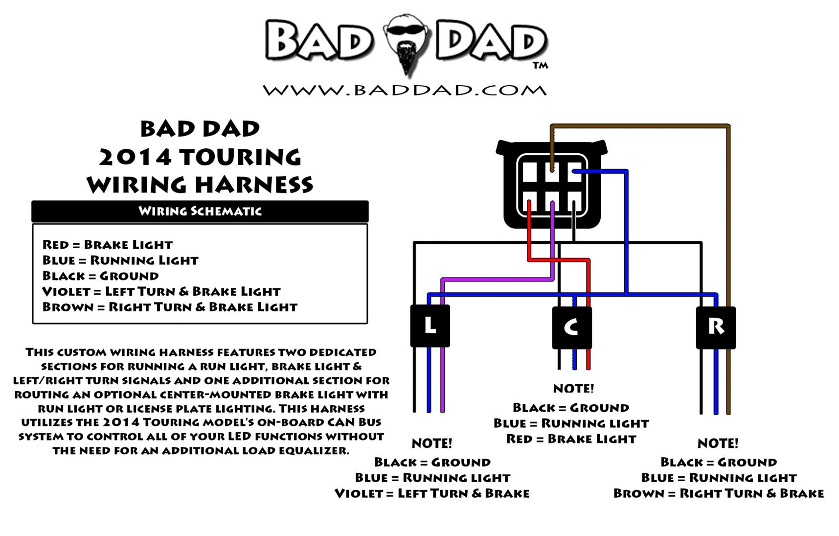 hight resolution of 1 bad dad s 2014 wiring harness features 3 sections 1 center