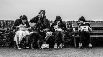 fish-chip-lunch-in-the-rain-bw
