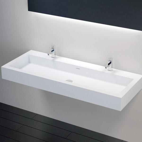 Double Trough Wall Mounted Bathroom Sink