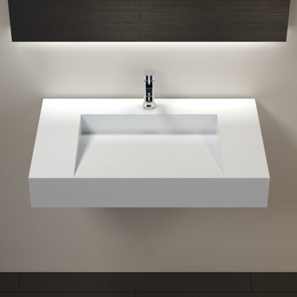 Solid Surface Wall Mounted Bathroom Sink  Model WT04D