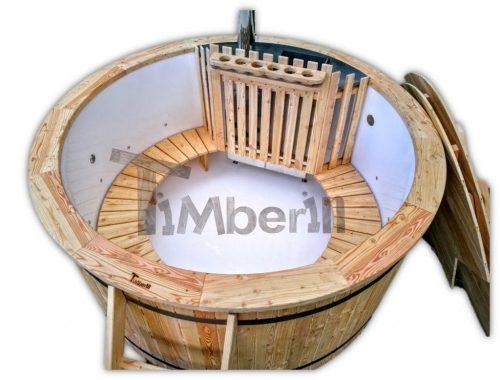 Badetonne Kunststoff Lärche mit Luftsprudelmassage und 2 LED TimberIN