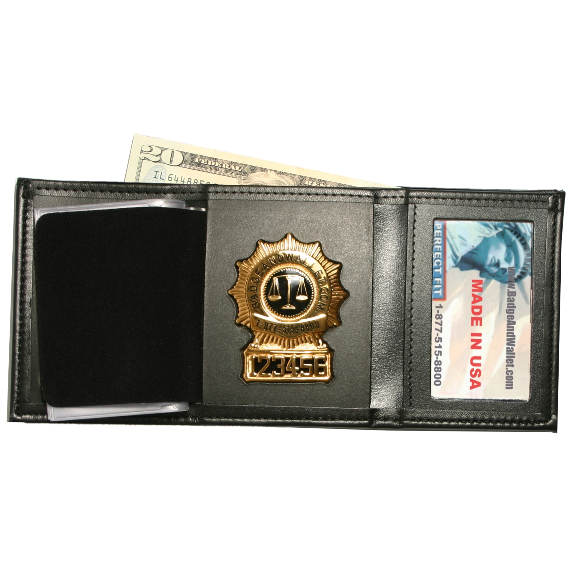 Trifold Badge Wallet w Single ID  CC Slots  Badge And