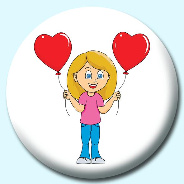 75mm Valentines Day Balloon Button Badge Badge Boy