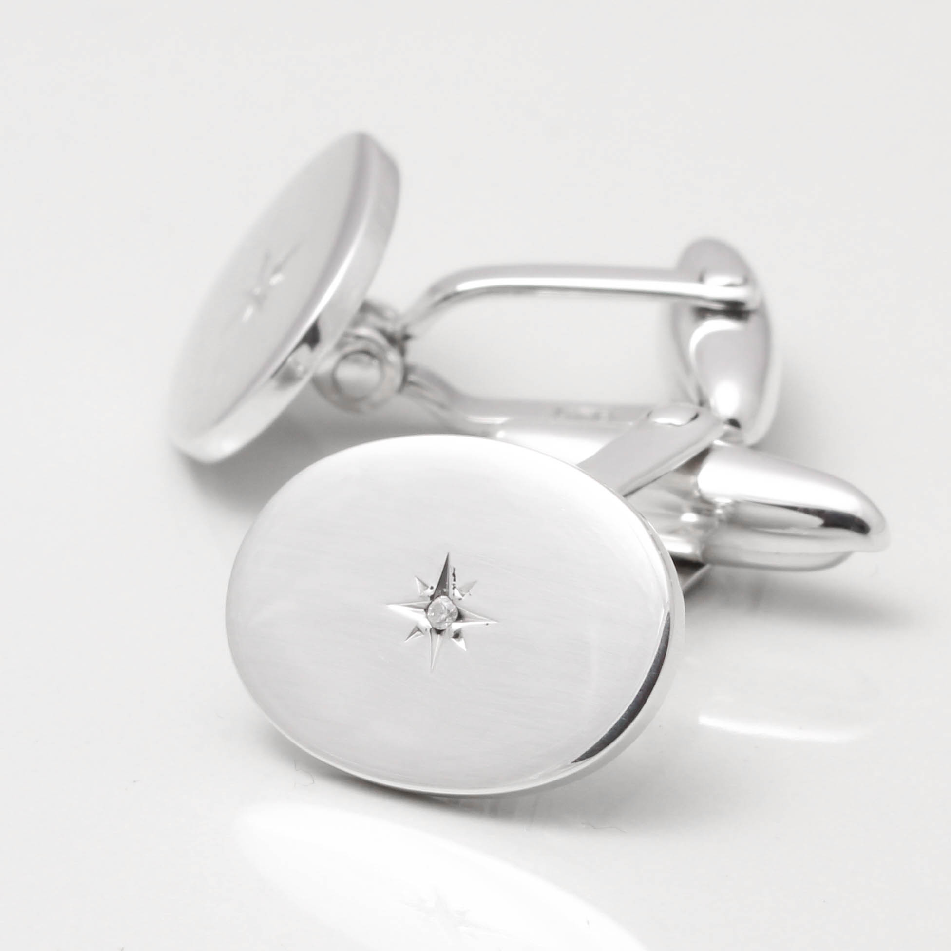 Sterling Silver Diamond Cufflinks by Badger  Brown