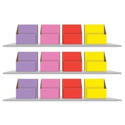 colour coded storage boxes