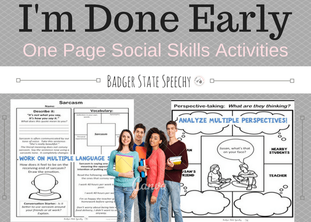 I'm Done Early!  One page Social Skills Activities:  Middle and High School