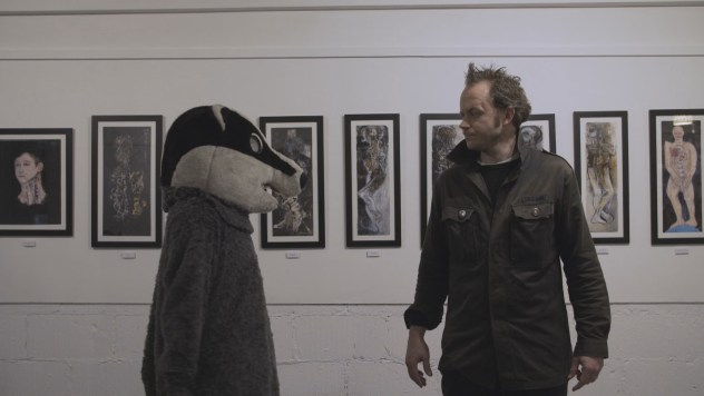Barry the badger and Hal Camplin