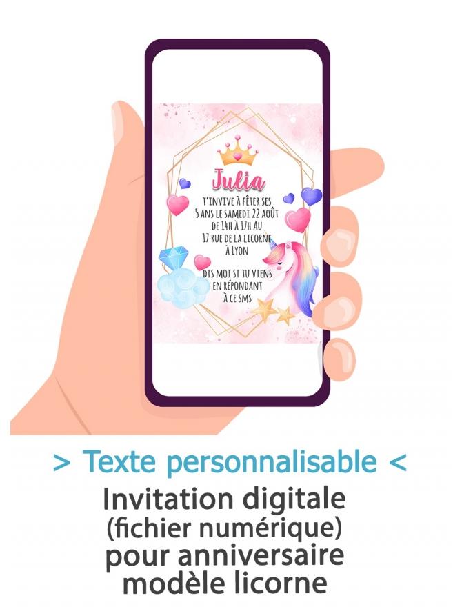 carte d invitation anniversaire digitale licorne