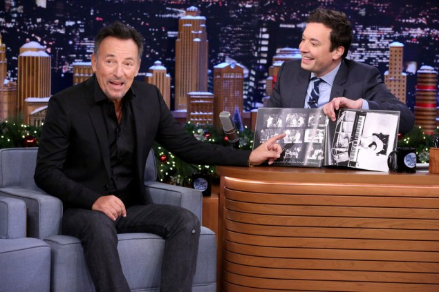THE TONIGHT SHOW STARRING JIMMY FALLON -- Episode 0390 -- Pictured: (l-r) Musician Bruce Springsteen during an interview with host Jimmy Fallon on December 17, 2015 -- (Photo by: Douglas Gorenstein/NBC)