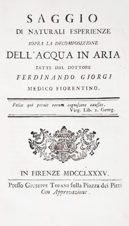 Ferdinando GIORGI : Chemistry/Water. GIORGI. Saggio di