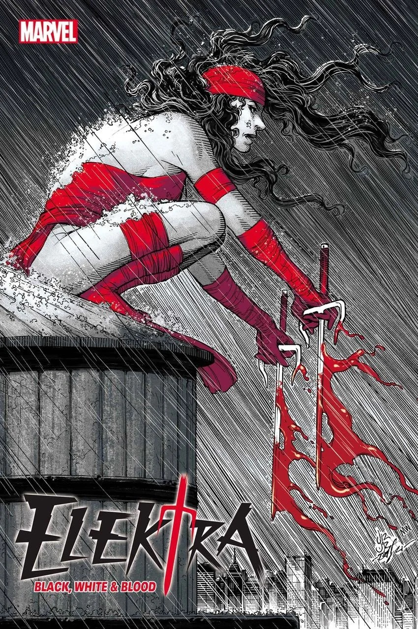 Elektra: Black, White and Bood #1, copertina di John Romita Jr.