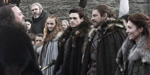 "GAME OF THRONES ""Winter is Coming"" Season 1, Ep 1 April 17, 2011 Sophie Turner as Sansa Stark, Richard Madden as Robb Stark, Sean Bean as Ned Stark, and Michelle Fairley as Catelyn Stark"