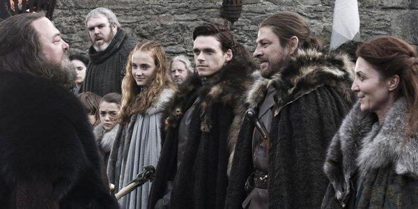 "GAME OF THRONES ""Winter is Coming"" Season 1, Ep 1 April 17, 2011 Sophie Turner as Sansa Stark, Richard Madden as Robb Stark, Sean Bean as Ned Stark, and Michelle Fairley as Catelyn Stark"