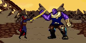 Avengers: Infinity War, i Vendicatori contro Thanos in una scena ricreata in 16 Bit