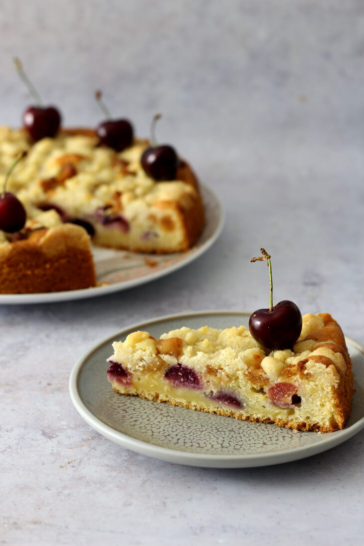 Kirschkuchen mit Marzipan   bäckerina.de