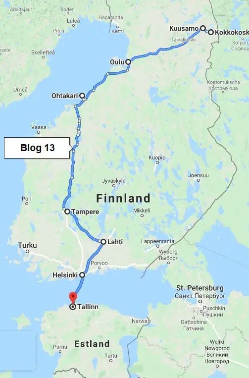 Route durch Süd Finnland