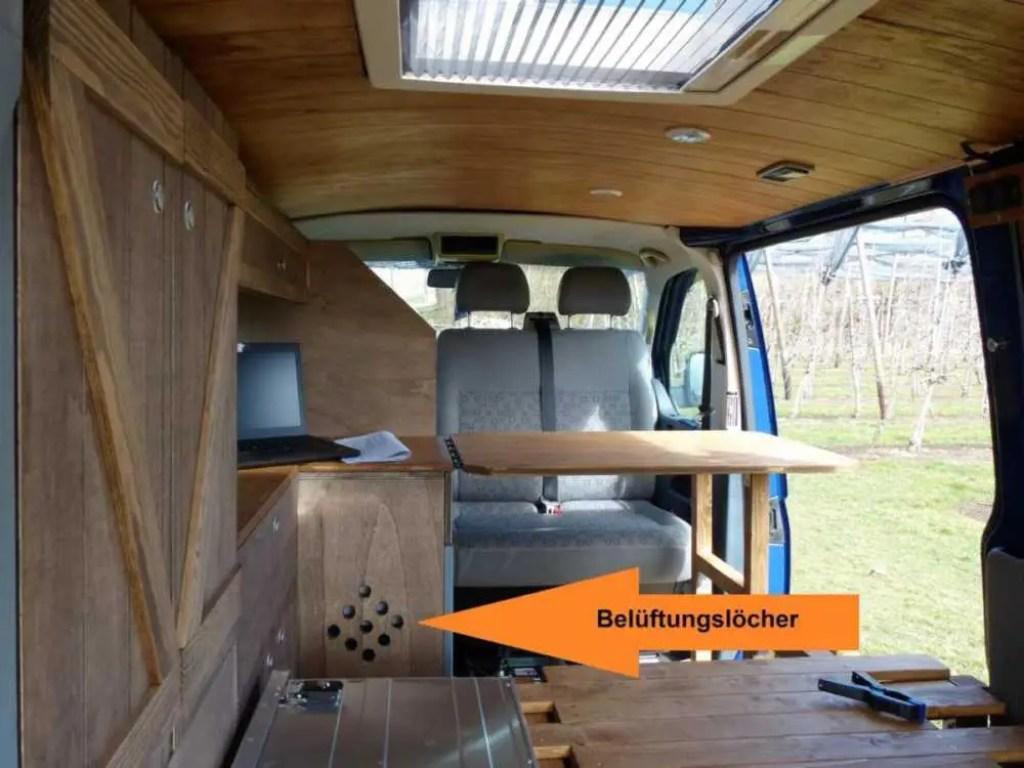 Camper Selbstausbau mit Kompressor Kühlbox