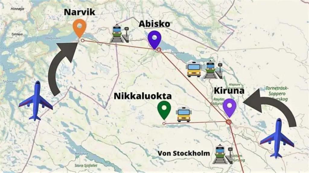 Kungsleden und Dag Hammarskjöldsleden mit den öffentlichen Verkehrsmitteln. Bus-Verbindung Nikkaluokta und Abisko.