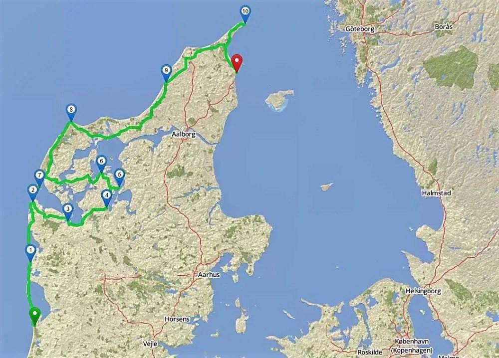 Route an der Westküste Dänemarks