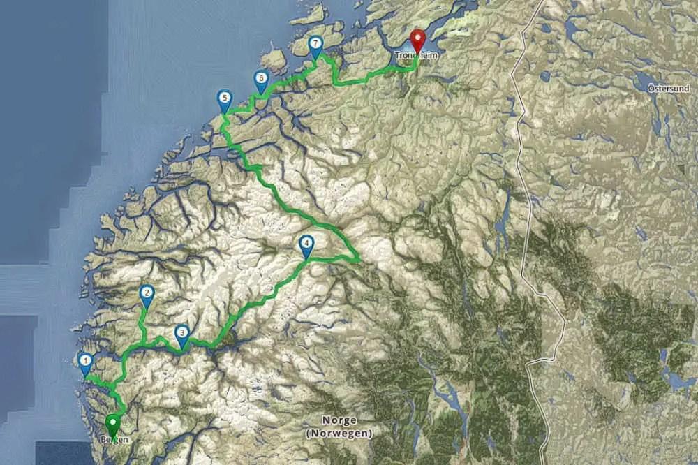 Route mit dem Camper von Bergen nach Trondheim