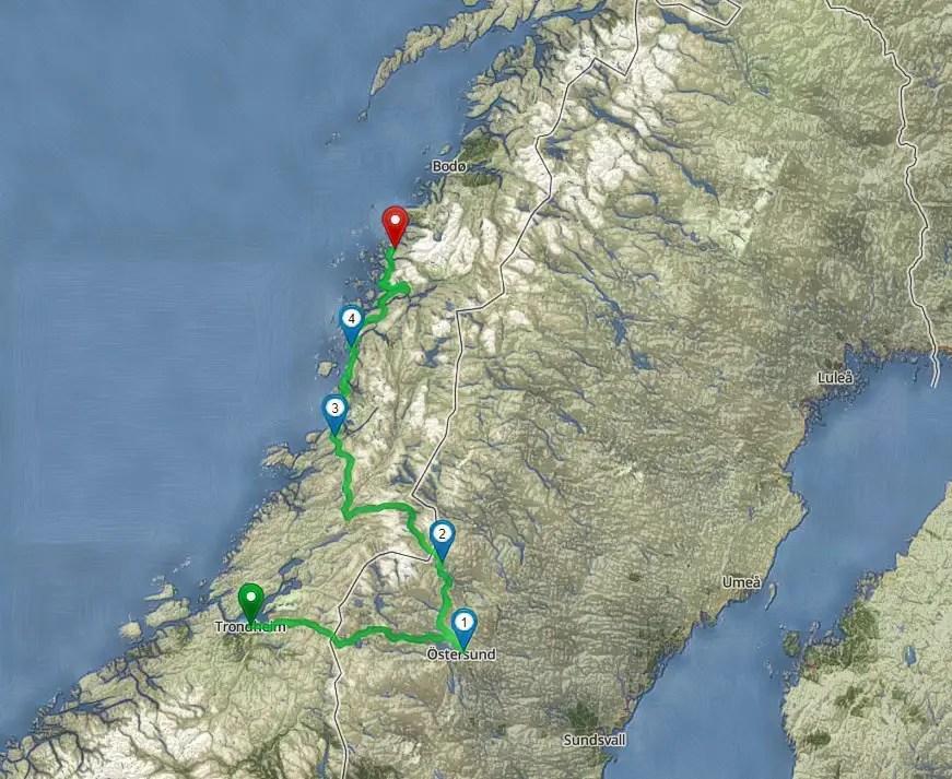 Unsere Route am Küstenweg Kystriksveien zum Polarkreis mit dem Camper