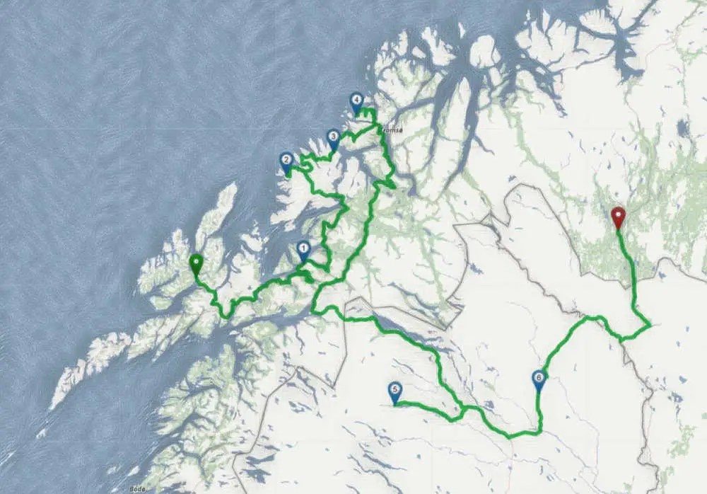 Von Vesteralen nach Senja, Tromso und Lappland.