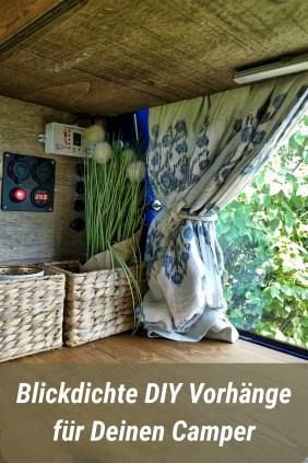Blickdichte Vorhänge für den Camper als Pinterest Pin