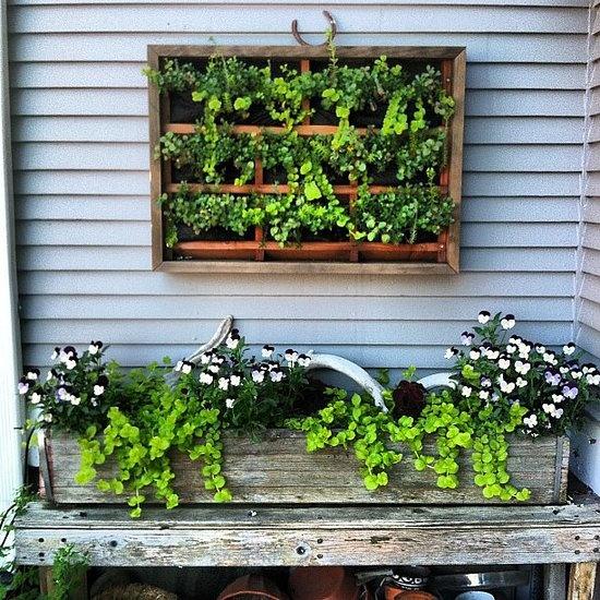 """Adoro esta idéia de usar um cantinho para o jardim! Um """"quadro verde"""" e uma mesa para as plantas, tudo com ar rústico e cara de sítio! *"""