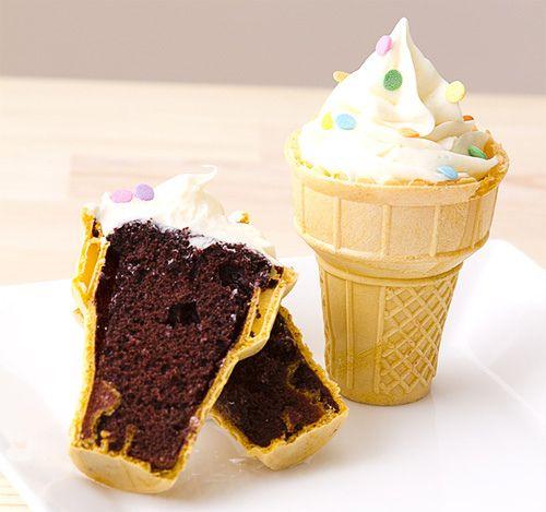 bolo na casquinha de sorvete