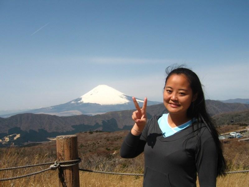 Ao fundo o Monte Fuji, no Japão