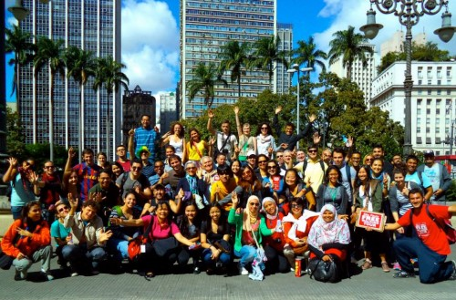 Foto do grupo que fez o passeio pelo Centro Histórico