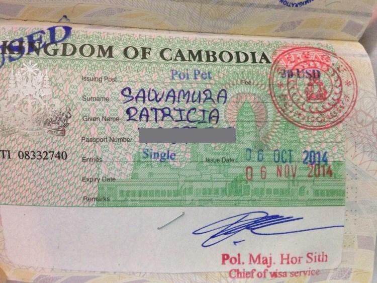 O visto do Camboja