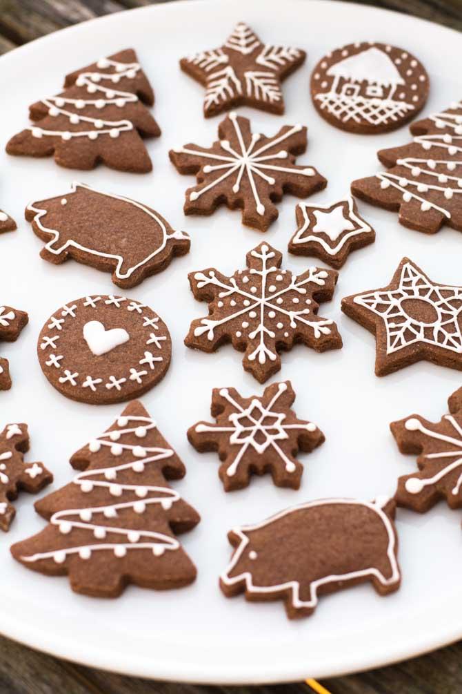 Chokolade småkager til jul, opskrift fra Bageglad