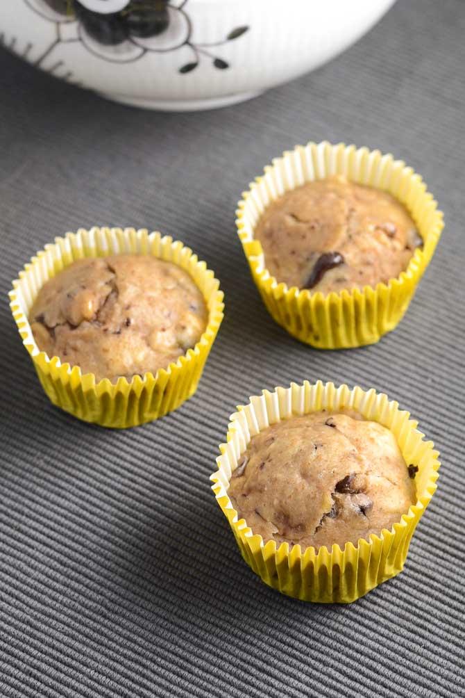 Fedtfattige bananmuffins fra Bageglad