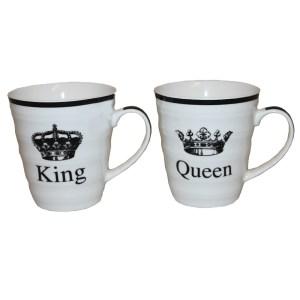 2 vackra porslinsmuggar med text King Queen Bröllopsgåva